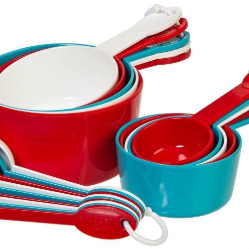 19-Piece cucharas y tazas medidoras (8 piezas), Casual, Rojo/Blanco/Verde azulado, 19 piezas
