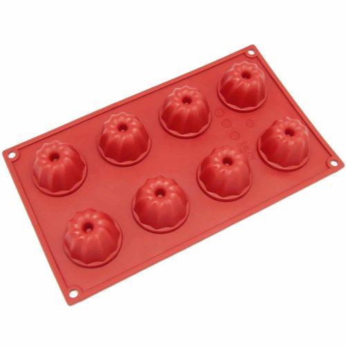 Freshware SM-109RD Molde de silicona miniatura de 8 cavidades para pasteles con cilindro central (Bundt), pastel de café, muffin, cupcakes, brownies y pastel de maíz