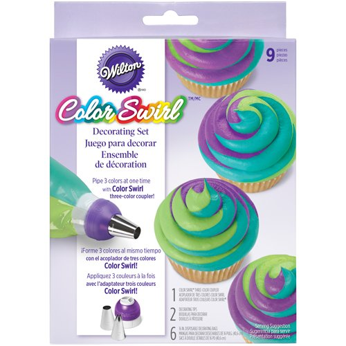 Wilton 2104-7072 ColorSwirl 3-Color Coupler 9-Piece Decorating Kit, 2104-7072